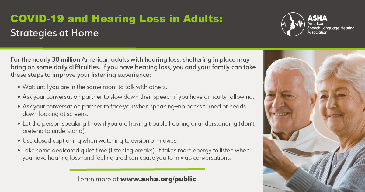 COVID-19 and Hearing Loss in Adults: Strategies at Home